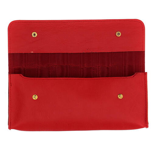 Rectangular stole burse of real red leather 2