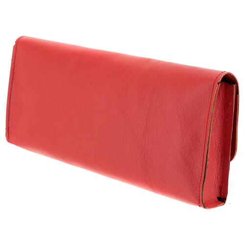 Rectangular stole burse of real red leather 3