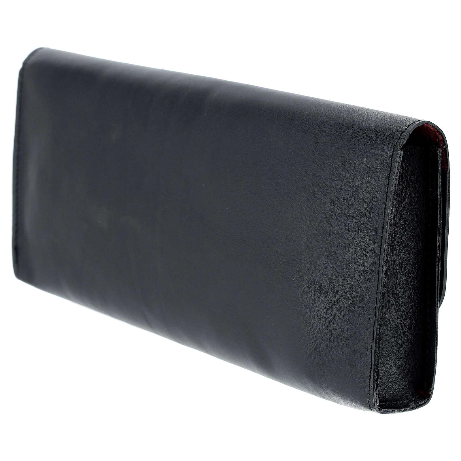 Rectangular stole burse of real black leather 4