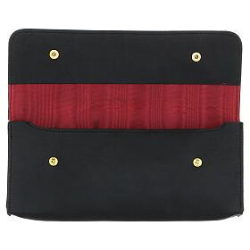 Rectangular stole burse of real black leather s2
