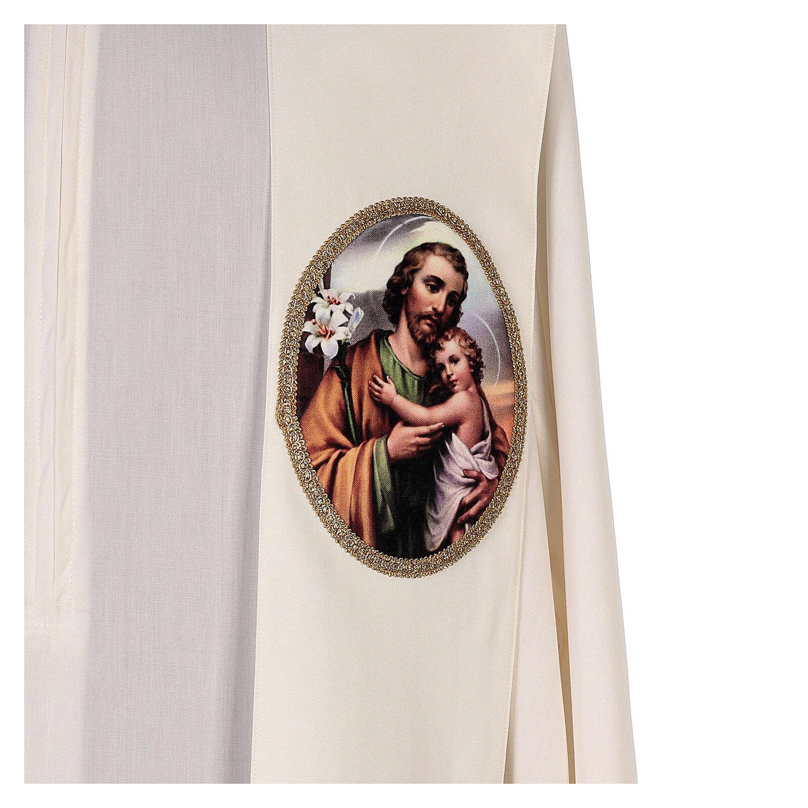 Estola colores litúrgicos San José 100% poliéster 4