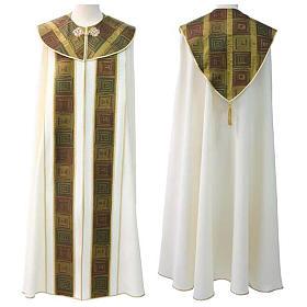 Chape liturgique avec décor vert marron et doré s1