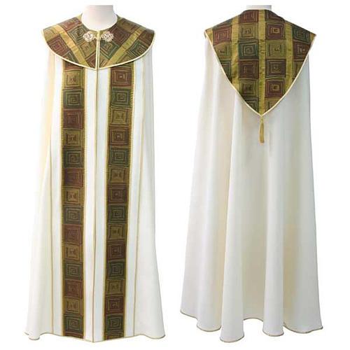 Chape liturgique avec décor vert marron et doré 1