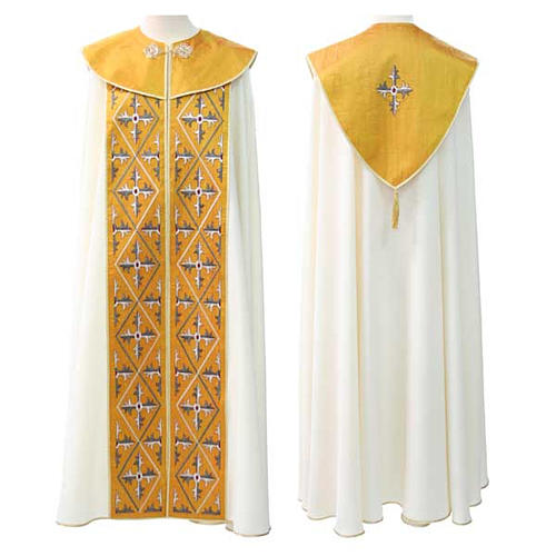 Liturgical cope with geometric embroideries 1