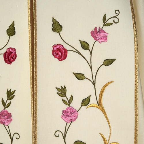 Liturgical cope with IHS symbol and roses embroideries 2