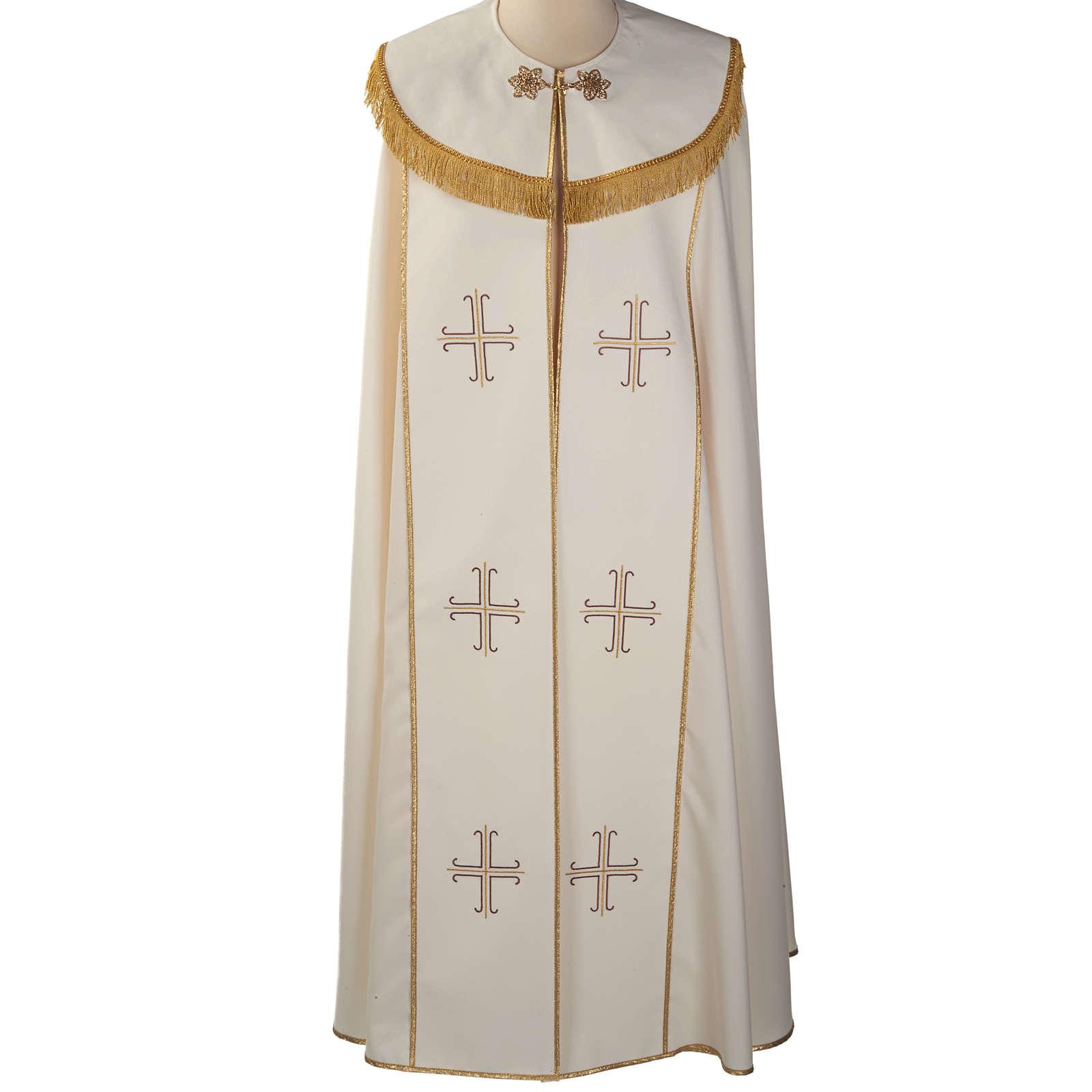 Chape liturgique blanche avec croix stylisées 4