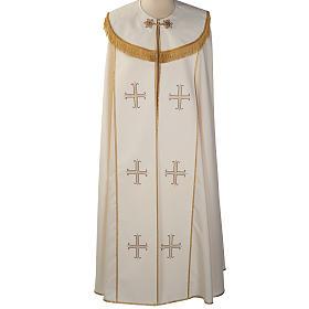 Chape liturgique blanche avec croix stylisées s1