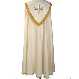 Chape liturgique blanche avec croix stylisées s5