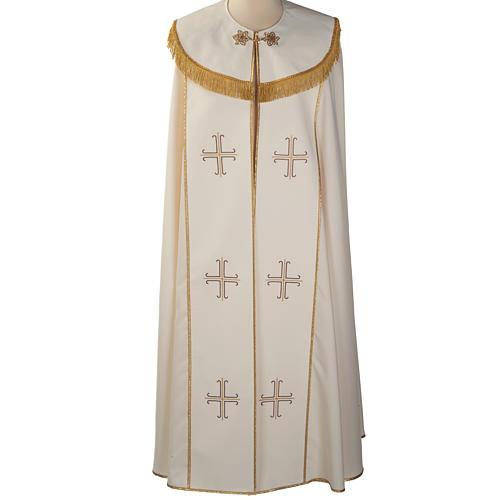 Chape liturgique blanche avec croix stylisées 1