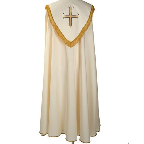 Chape liturgique blanche avec croix stylisées 5