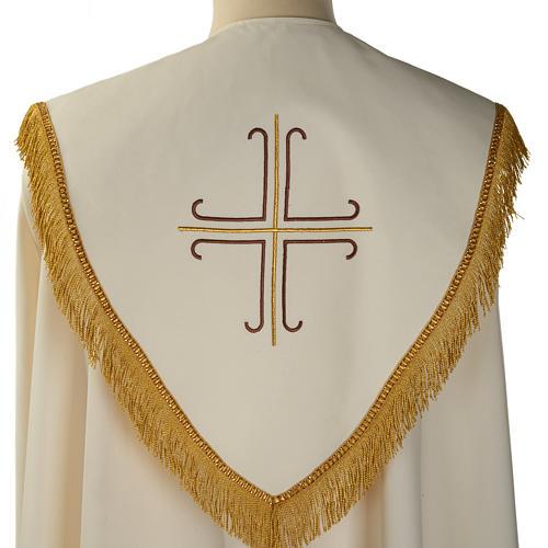 Chape liturgique blanche avec croix stylisées 6