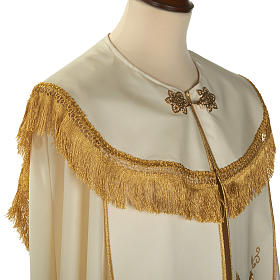 Liturgical cope with gold IHS symbol and roses embroideries s4