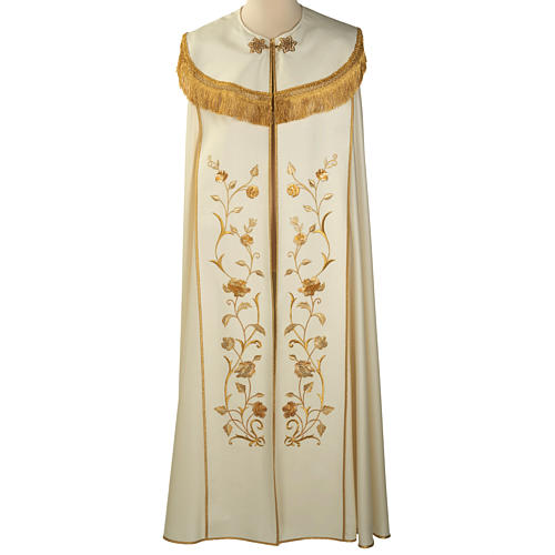 Liturgical cope with gold IHS symbol and roses embroideries 1