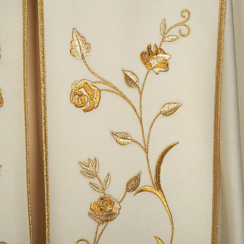Liturgical cope with gold IHS symbol and roses embroideries 2