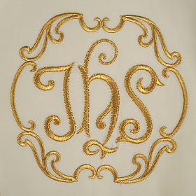 Liturgical cope with gold IHS symbol and roses embroideries s6