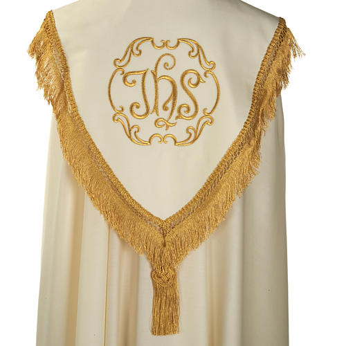 Liturgical cope with gold IHS symbol and roses embroideries 5