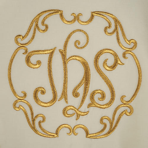 Liturgical cope with gold IHS symbol and roses embroideries 6