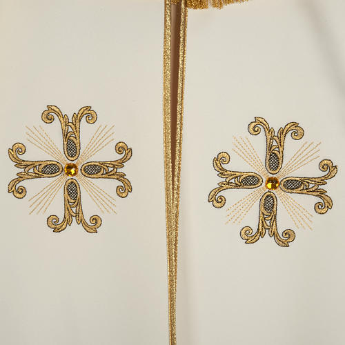Liturgical cope with gold cross and glass pearl 3