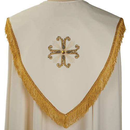 Liturgical cope with gold cross and glass pearl 5