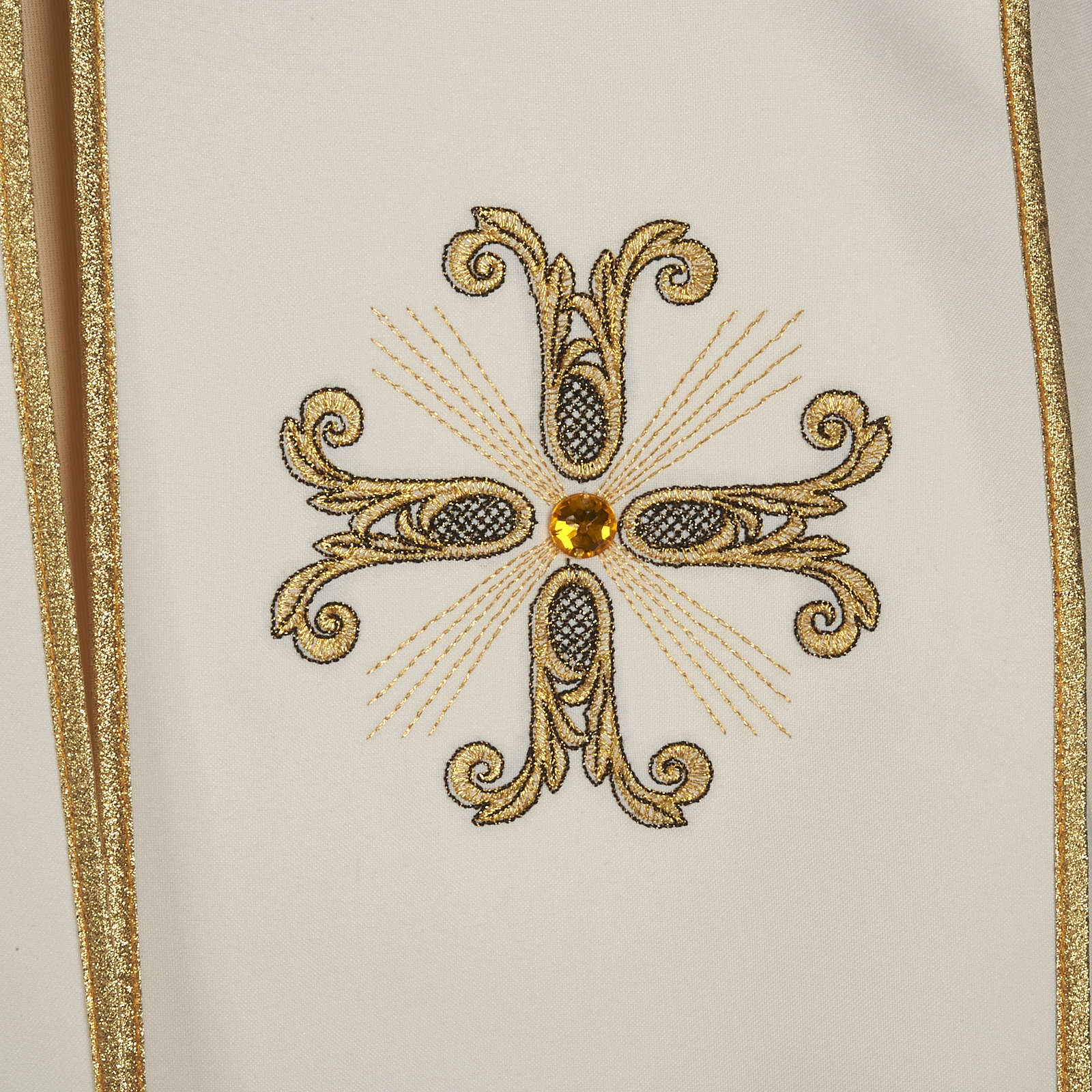 Liturgical cope with gold cross and glass pearl 4