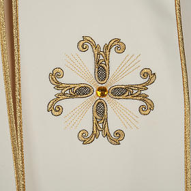 Liturgical cope with gold cross and glass pearl s2