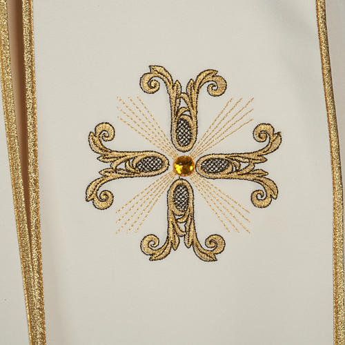 Liturgical cope with gold cross and glass pearl 2