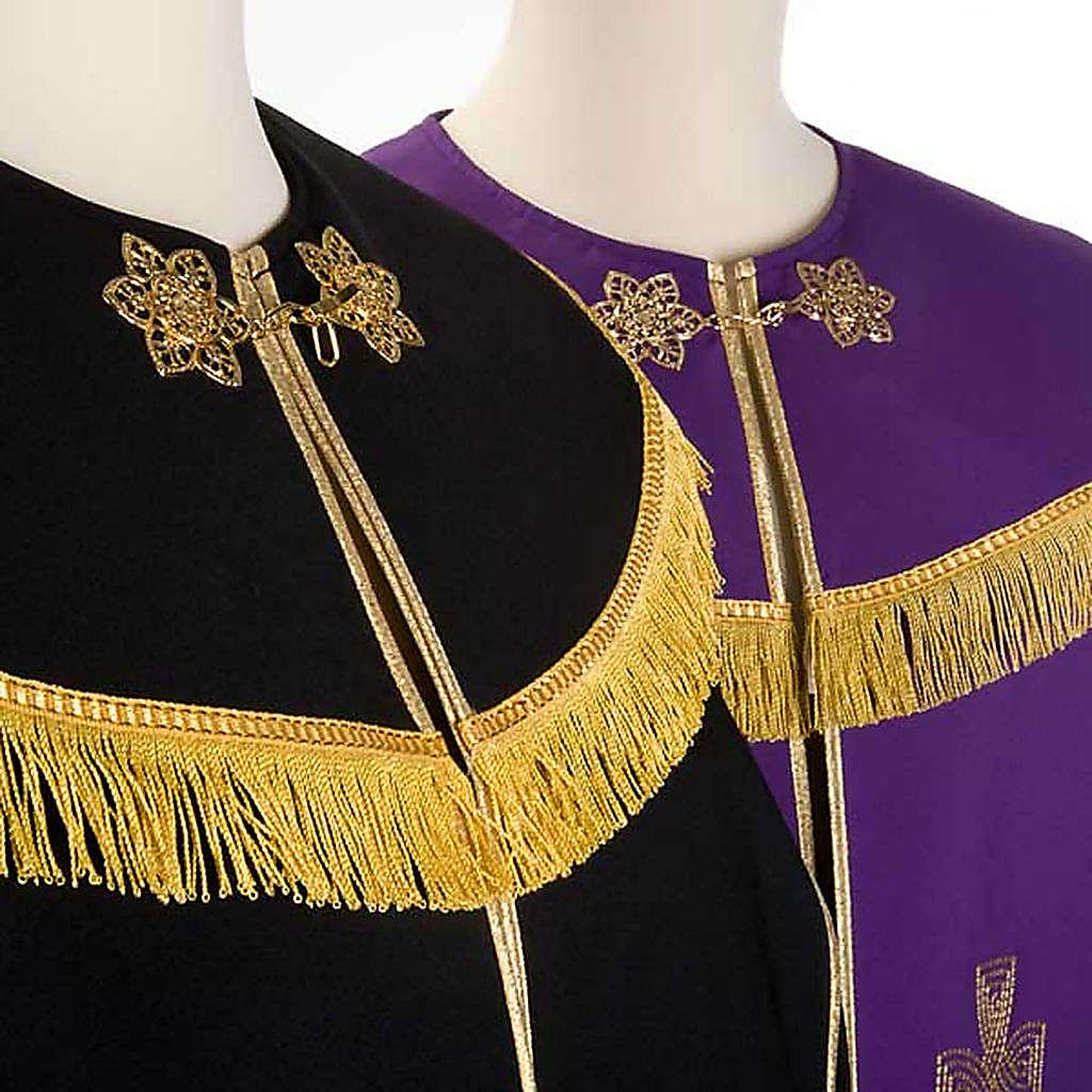 Chape liturgique croix dorées, noire violette 4