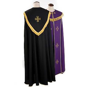Chape liturgique croix dorées, noire violette s2