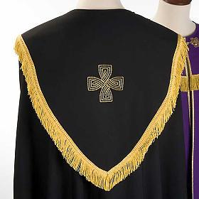 Chape liturgique croix dorées, noire violette s5
