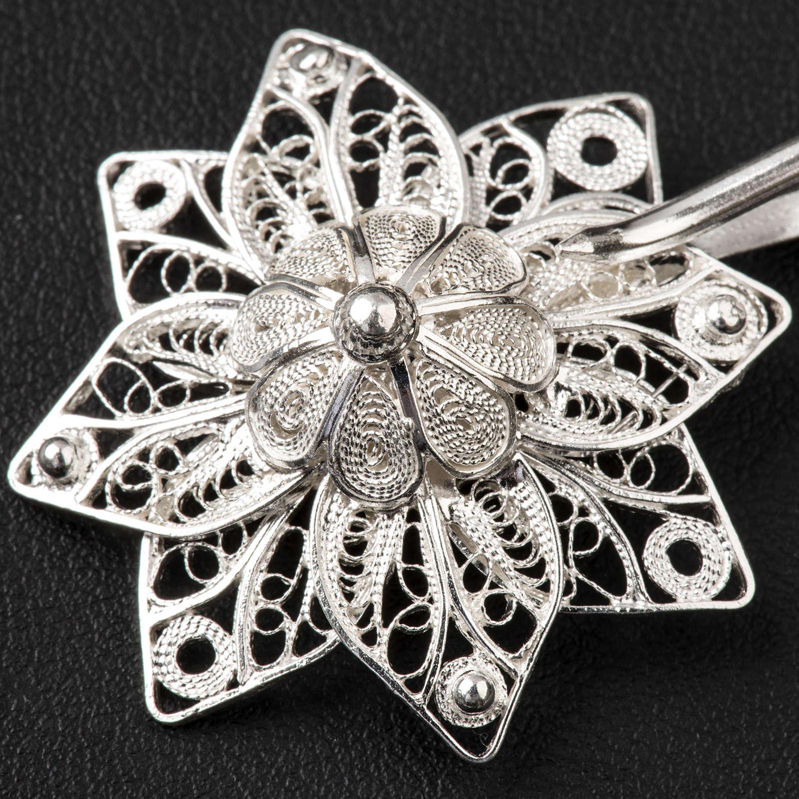Broche para el pluvial estrella filigrana plata 800 4