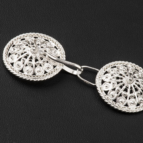 Cope Clasp in silver 800 filigree, round shaped 3