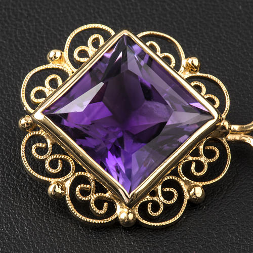 Cope Clasp in golden silver 800 filigree with Amethyst 2