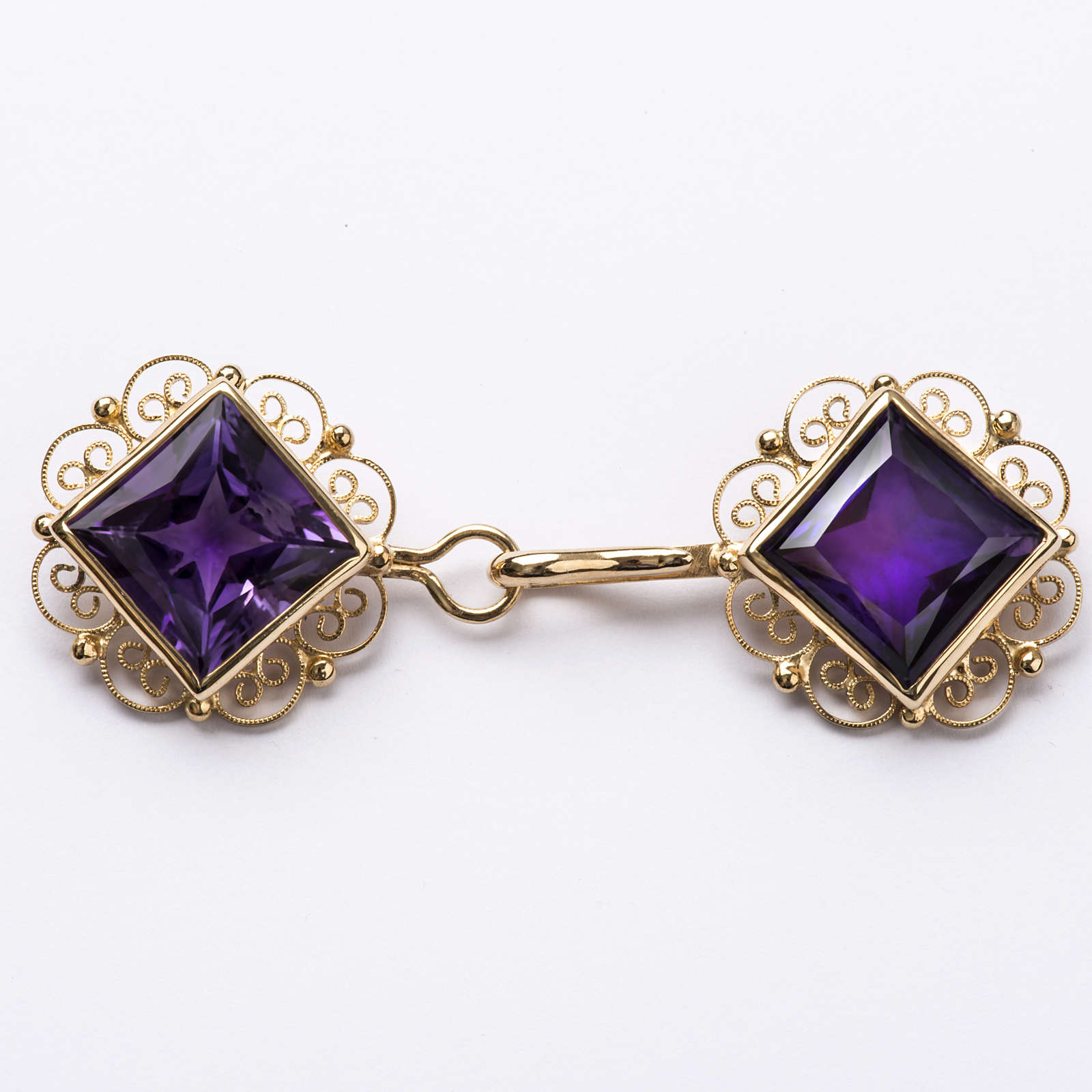 Cope Clasp in golden silver 800 filigree with Amethyst 4