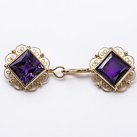 Cope Clasp in golden silver 800 filigree with Amethyst s1
