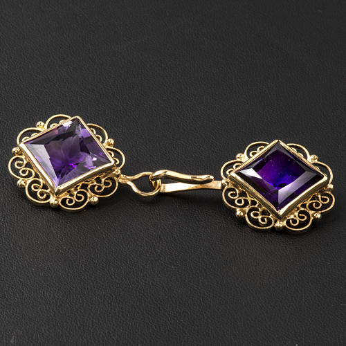 Cope Clasp in golden silver 800 filigree with Amethyst 3