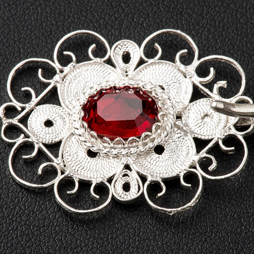 Cope clasp, 800 silver filigree, round with red stone 2