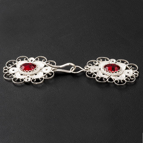 Cope clasp, 800 silver filigree, round with red stone 3