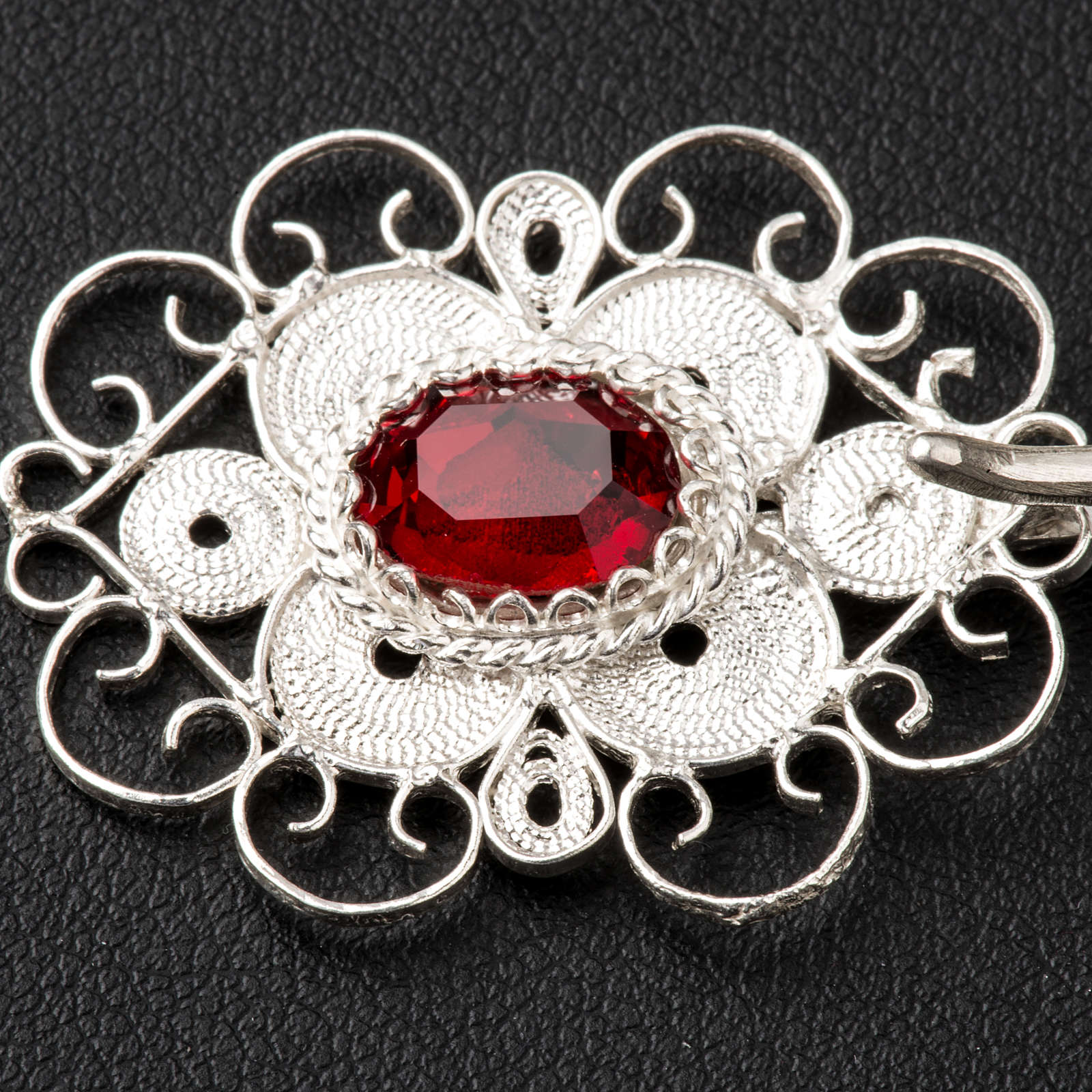 Cope clasp, 800 silver filigree, round with red stone 4