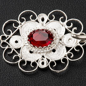 Cope clasp, 800 silver filigree, round with red stone s2