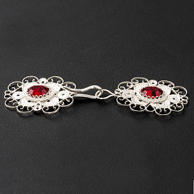 Cope clasp, 800 silver filigree, round with red stone s3