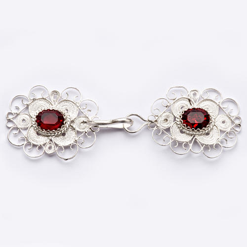 Cope clasp, 800 silver filigree, round with red stone 1