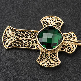Cope Clasp in silver filigree, cross decoration with green Agate s2