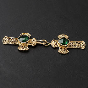 Cope Clasp in silver filigree, cross decoration with green Agate s3