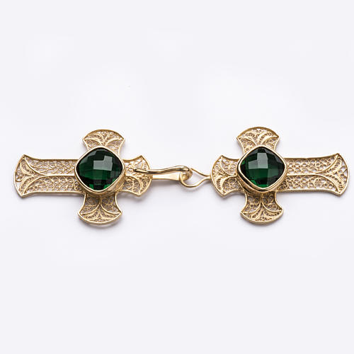Cope Clasp in silver filigree, cross decoration with green Agate 1