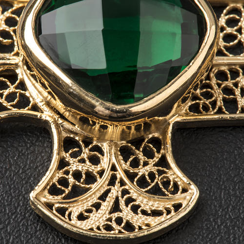 Cope Clasp in silver filigree, cross decoration with green Agate 4