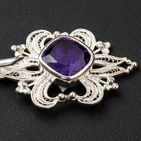 Cope Clasp in silver 800 filigree with Amethyst stone s2