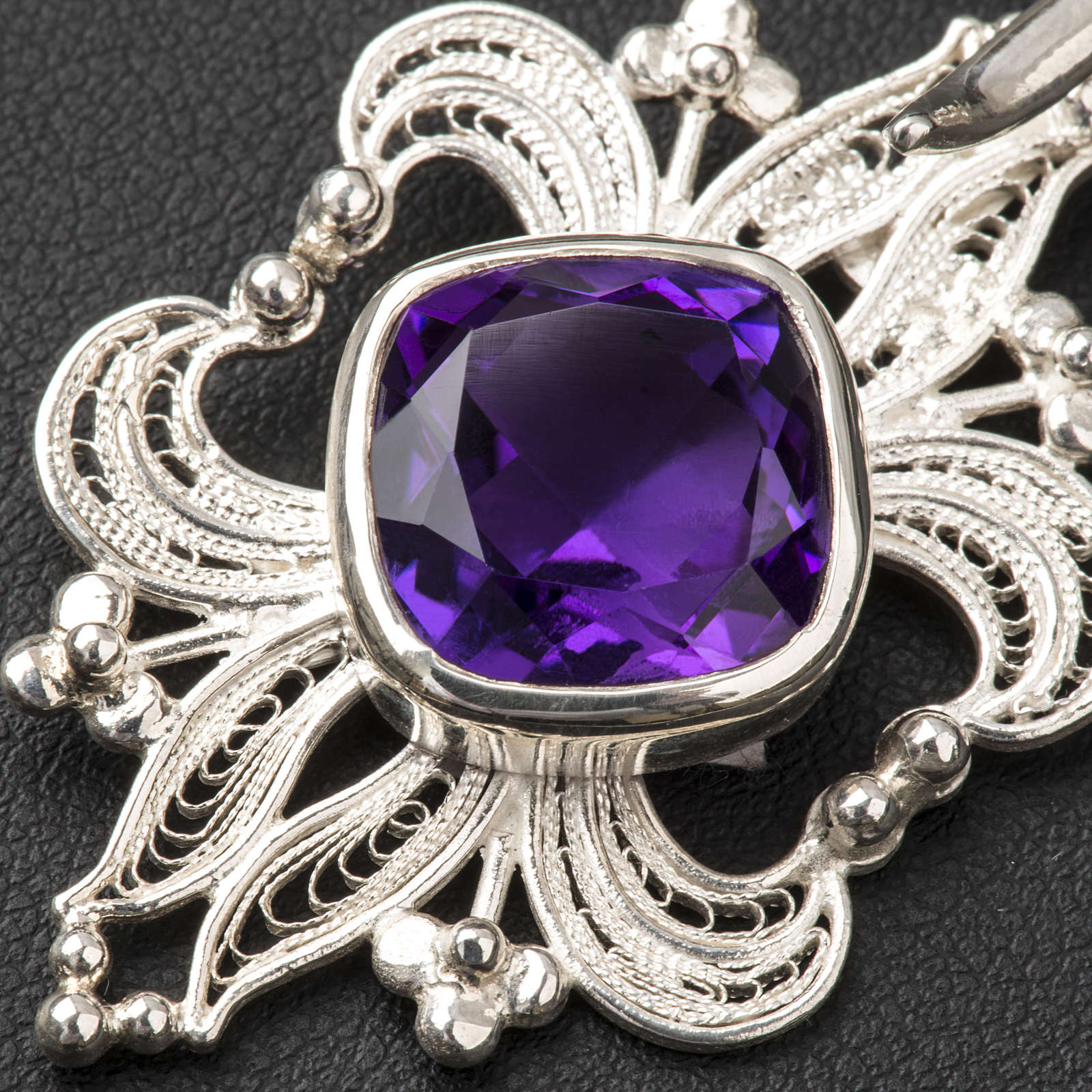 Cope Clasp in silver 800 filigree with Amethyst stone 4