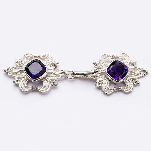 Cope Clasp in silver 800 filigree with Amethyst stone 1
