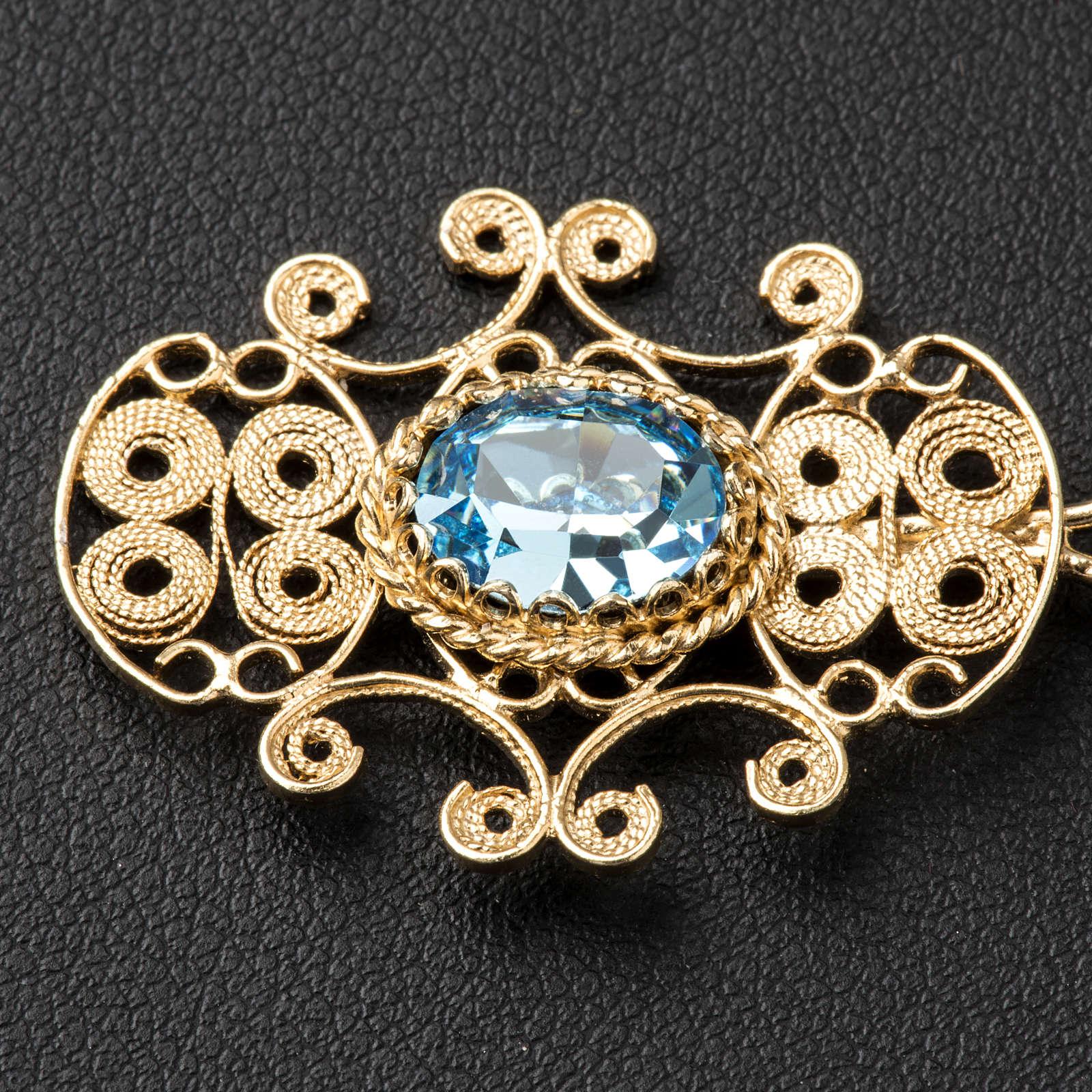 Chormantelschließe aus vergoldetem 800er Silber filigran gearbeitet mit hellblauem Stein 4