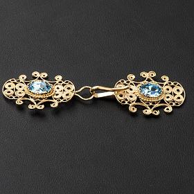 Chormantelschließe aus vergoldetem 800er Silber filigran gearbeitet mit hellblauem Stein s3
